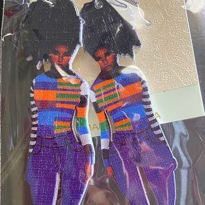 African American Black Woman Wooden Earnings